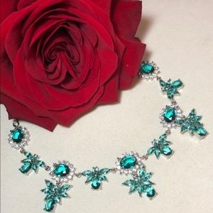 Sterling Silver.925 Aquamarine And CZ Necklace